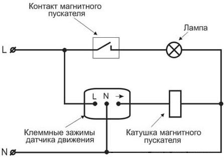 Схема подключения магнитного пускателя.