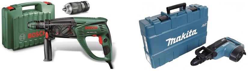 Модели перфоратора Bosch и Makita