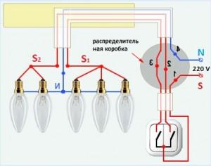 Соединение люстры с выключателем